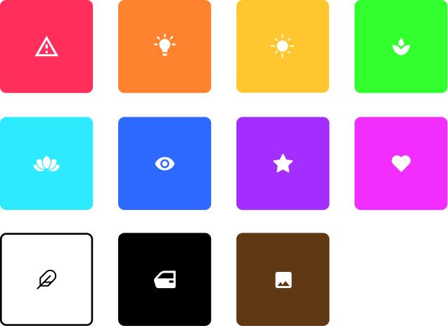 Verschiedene farben mit icons